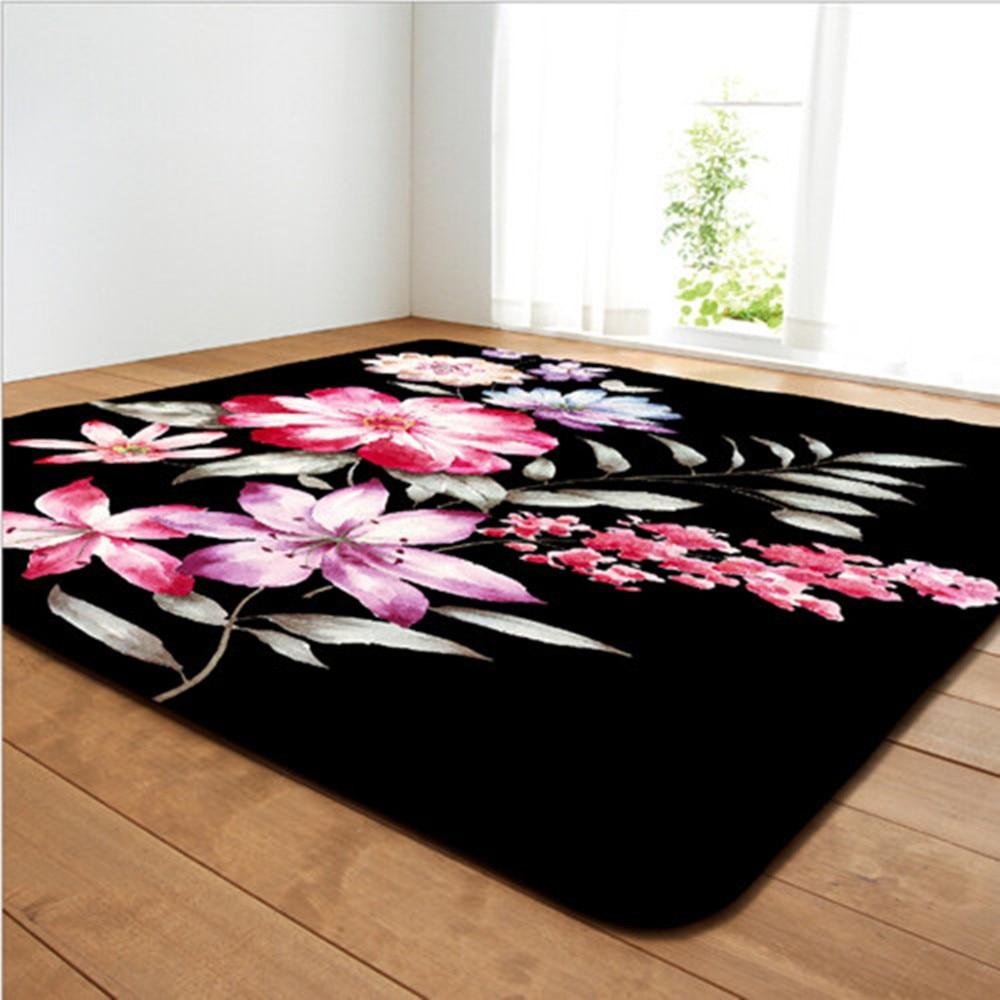 Rose fleur imprimer Rectangles tapis Applicable maison salon chambre tapis haut de gamme hôtel décor tapis cuisine Non-tapis tapis