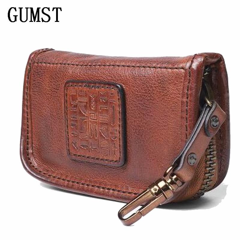 Genuine Leather Men Women Key Holder Organizer Cow Leather Car Key Bag Wallet Housekeeper Multifunction Key Case Card Bag