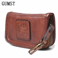 Genuine Leather Men Women Key Holder Organizer Cow Leather Car Key Bag Wallet Housekeeper Multifunction Key Case Card Bag