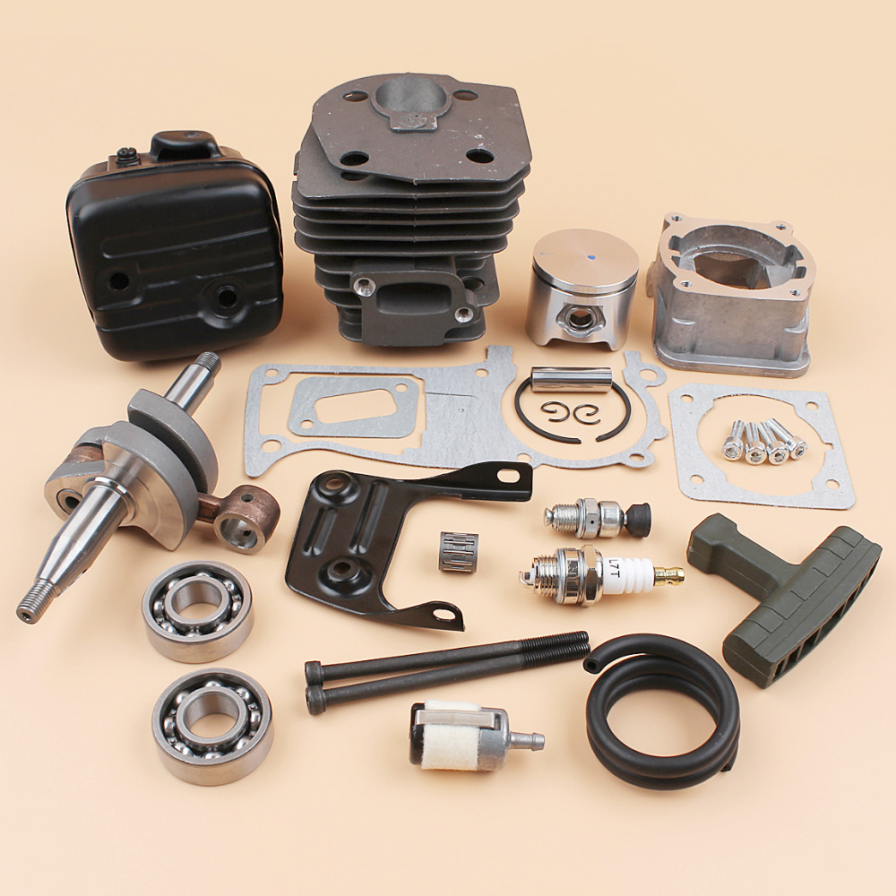 44mm Cylinder Piston Pan Crankshaft Ball Bearing Muffler Exhaust Kit For HUSQVARNA 340 345 350 Chainsaw Engine Motors все цены