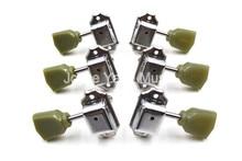 Chorme Retro Tulip Trapezoid Jade Green Button EPI GB Guitar Tuning Pegs Tuners Machine Head 3L+3R Free Shipping