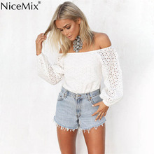 NiceMix 2016 Summer Autumn Women Blouses Sexy Off Shoulder Hollow Out Casual Tops Blusas White Shirt Ladies