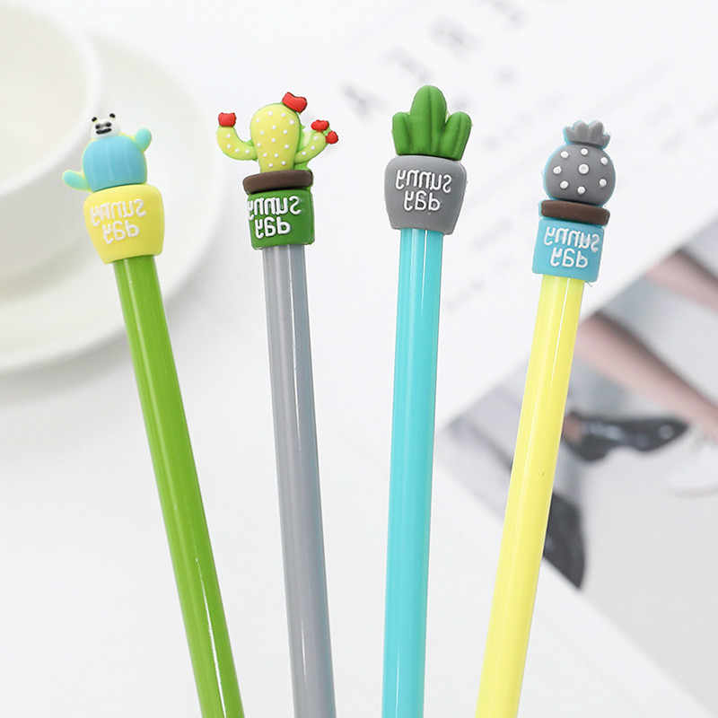 hot kawaii Cactus Pot Gel Pens Student gel Ink Pen School Office Supplies Learning Stationery Wholesale