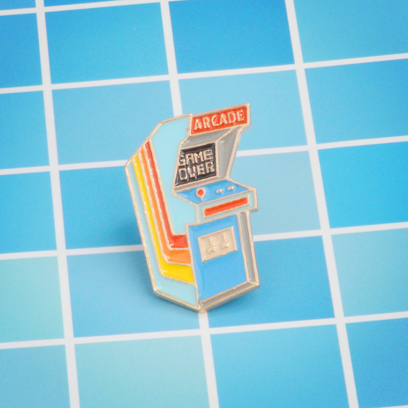 Retro arcade vintage enamel lapel pin GAME OVER videogame old school retro arcade classi ...