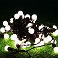 1X10 M Led 220 V Luces de Cadena, Luces de Navidad de La Boda, Mundo de Hadas Guirnalda impermeable IP68 Led, 72 Bolas en un Alambre Largo y Negro