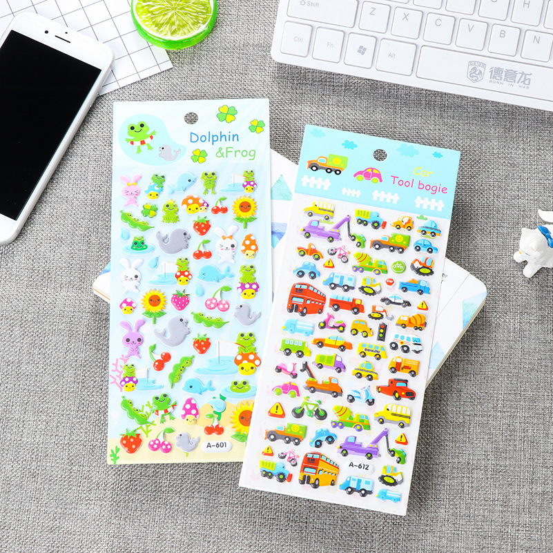 1 PCS New Children Cute Cartoon Waterproof Kindergarten Reward Stickers Korea Small 3D Bubble Stickers School Office Stationery
