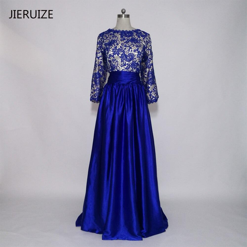 260cfb94cf7 Халат де вечер longue Royal Blue Lace Длинные Рукава Вечерние платья Длинный  2016 Спинки Пром Платья Вечернее Платье vestido де феста