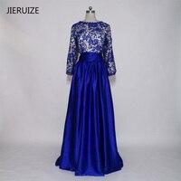 JIERUIZE robe de soiree Royal Blue Lace Long Sleeves Abendkleider Lange Backless Abschlussball-kleid-formale Kleid vestido de festa
