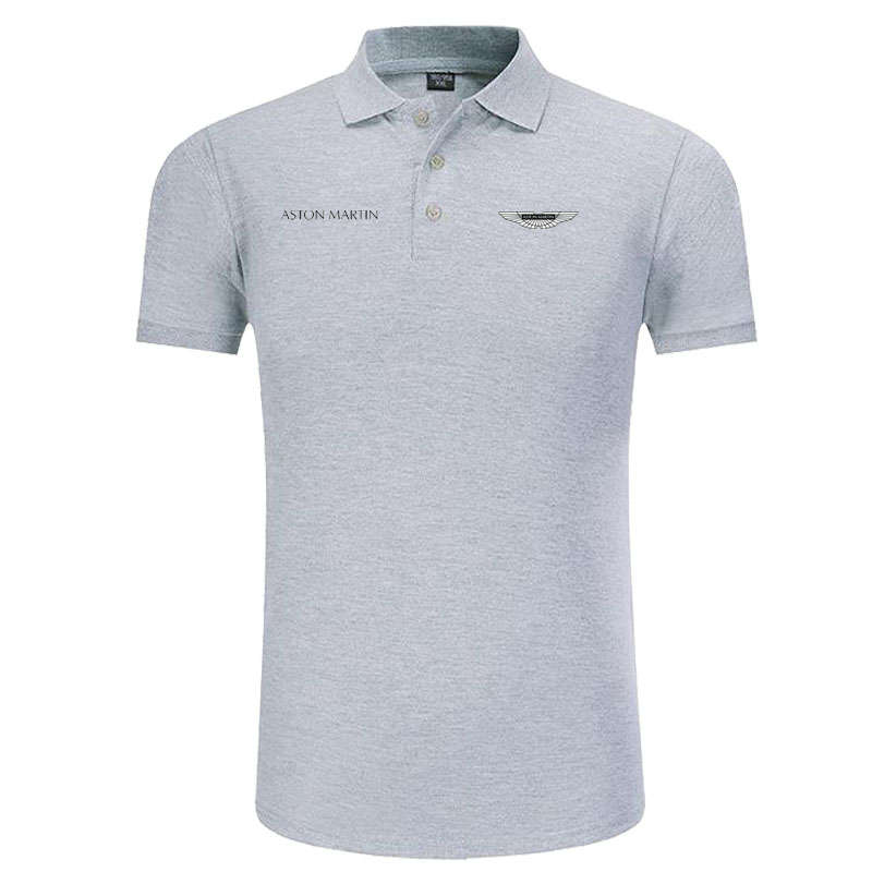 Aston Martin logo Polo Shirt Men Brand Clothes Solid Color Polos Shirts Casual Cotton Short Sleeve Polos