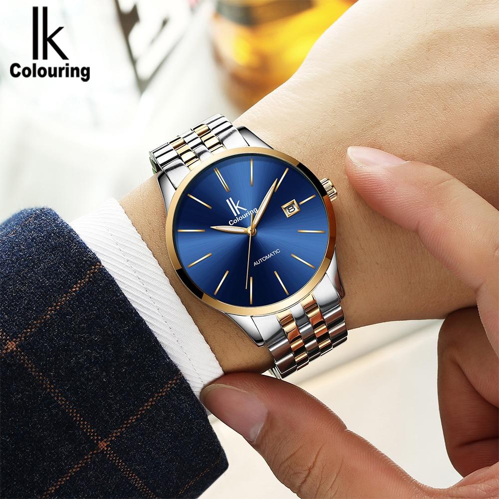 IK Coloring Mens นาฬิกาแบรนด์หรูสแตนเลสเต็มรูปแบบธุรกิจชายนาฬิกาข้อมืออัตโนมัติ Horloges Mannen-ใน นาฬิกาข้อมือกลไก จาก นาฬิกาข้อมือ บน   1