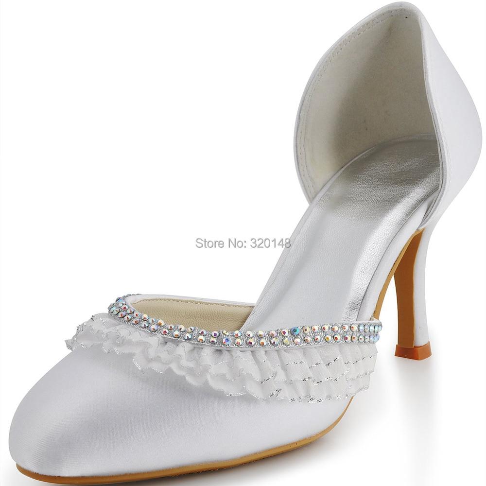 ФОТО Fashion Women Pumps  EP11036 Closed Toe  Two- Pieces High Heel Rhinestones Sation Wedding Shoes