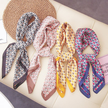 the new 2019 female spring  emulation silk small scarf South Korea grid squares