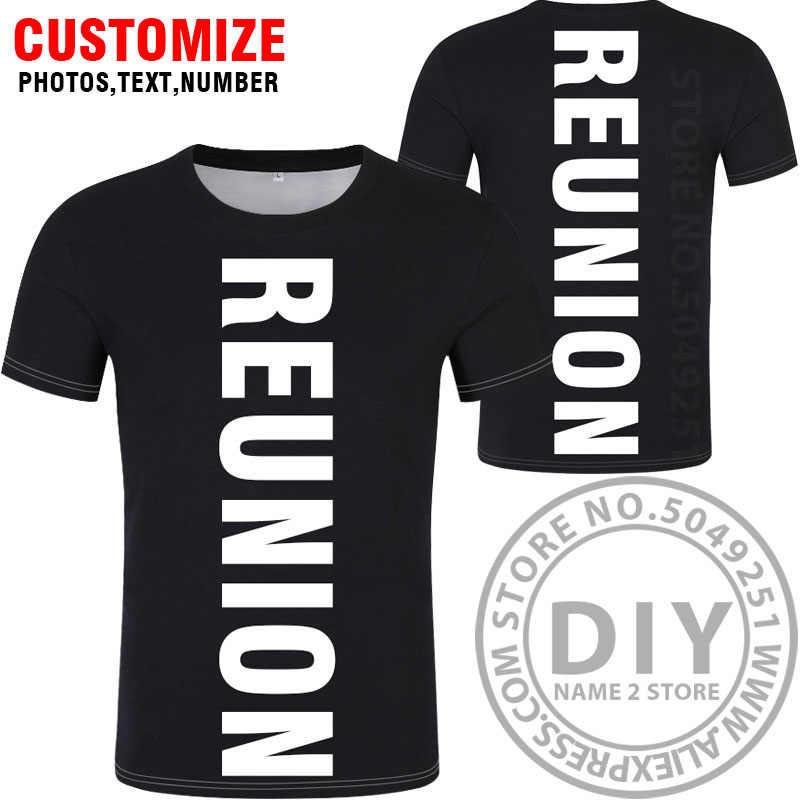 REUNION t เสื้อฟรี custom word ชื่อหมายเลข reu เสื้อยืด nation flag re ภาษาฝรั่งเศสคำประเทศวิทยาลัยพิมพ์ข้อความภาพโลโก้เสื้อผ้า