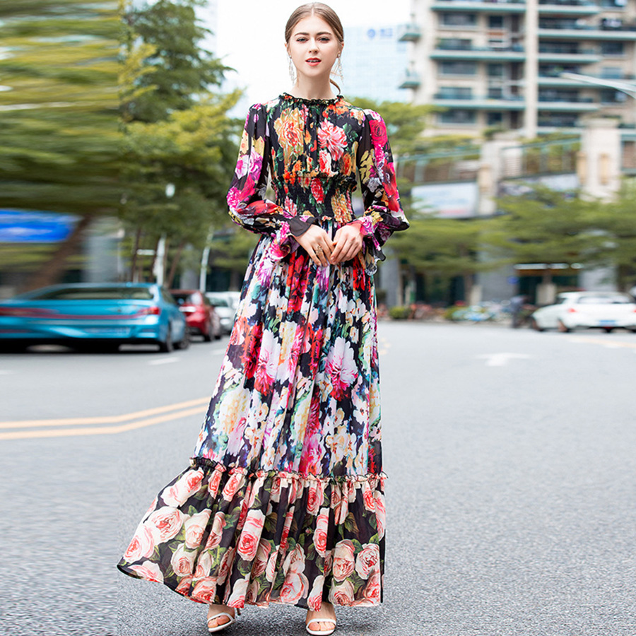 AELESEEN Bohemian Fashion Maxi Vestido 2019 Spring Summer Lantern Sleeve Floral Luxury Print Ruffles Slim Long Dress for Women-in Dresses from Women's Clothing    1