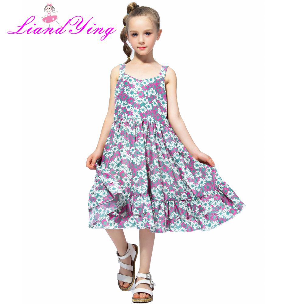 Baby <font><b>Girls</b></font> <font><b>Dress</b></font> <font><b>Summer</b></font> 2019 Fashion Children Clothing Kids Flower <font><b>Dress</b></font> Chiffon Princess Costume Vestidos 6 8 10 <font><b>12</b></font> <font><b>Years</b></font> <font><b>Old</b></font> image