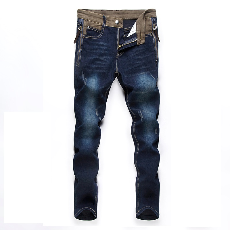 British 2016 New Fashion Men's BikerS Jeans Brand Design Wash Ripped Shinny Robin Male Denim Pants Big Size 40