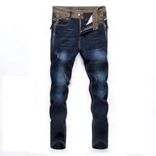 8a74710e1b25f British 2017 New Fashion Men s BikerS Jeans Brand Design Wash Ripped Jeans  Shinny Robin Jeans Male