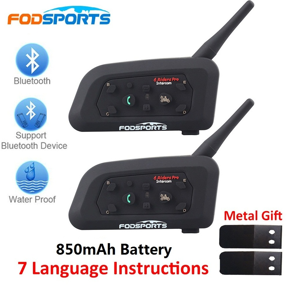Fodsports 2 pcs V6 Pro Capacete Da Motocicleta Bluetooth Headset Intercom 6 Pilotos 1200M BT Interfone Intercomunicador Sem Fio