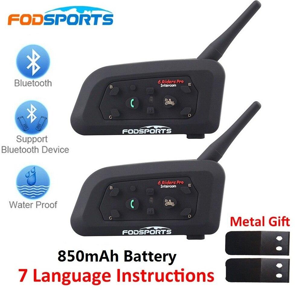 Fodsports 2 piezas V6 Pro casco de la motocicleta auriculares Bluetooth Intercom 6 corredores 1200M Intercomunicador BT Interphone
