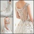 Собор хвост роскоши 2016 в продаже см . хотя мяч свадебное платье кап-рукава кристалл свадебные платья формальные женщины свадебные платья
