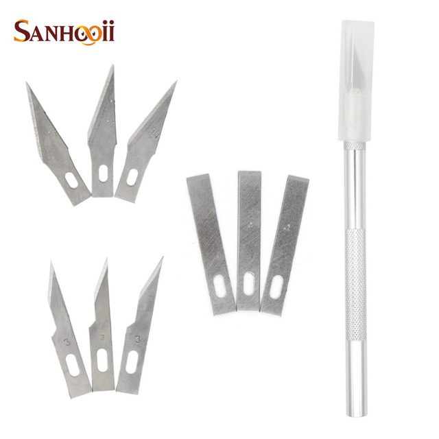 PCB Repair Tools 10 Blades Cutting Scalpel Sculpture Carving Set Aluminium Alloy Wood Paper craft DIY Repair Engraving Knife