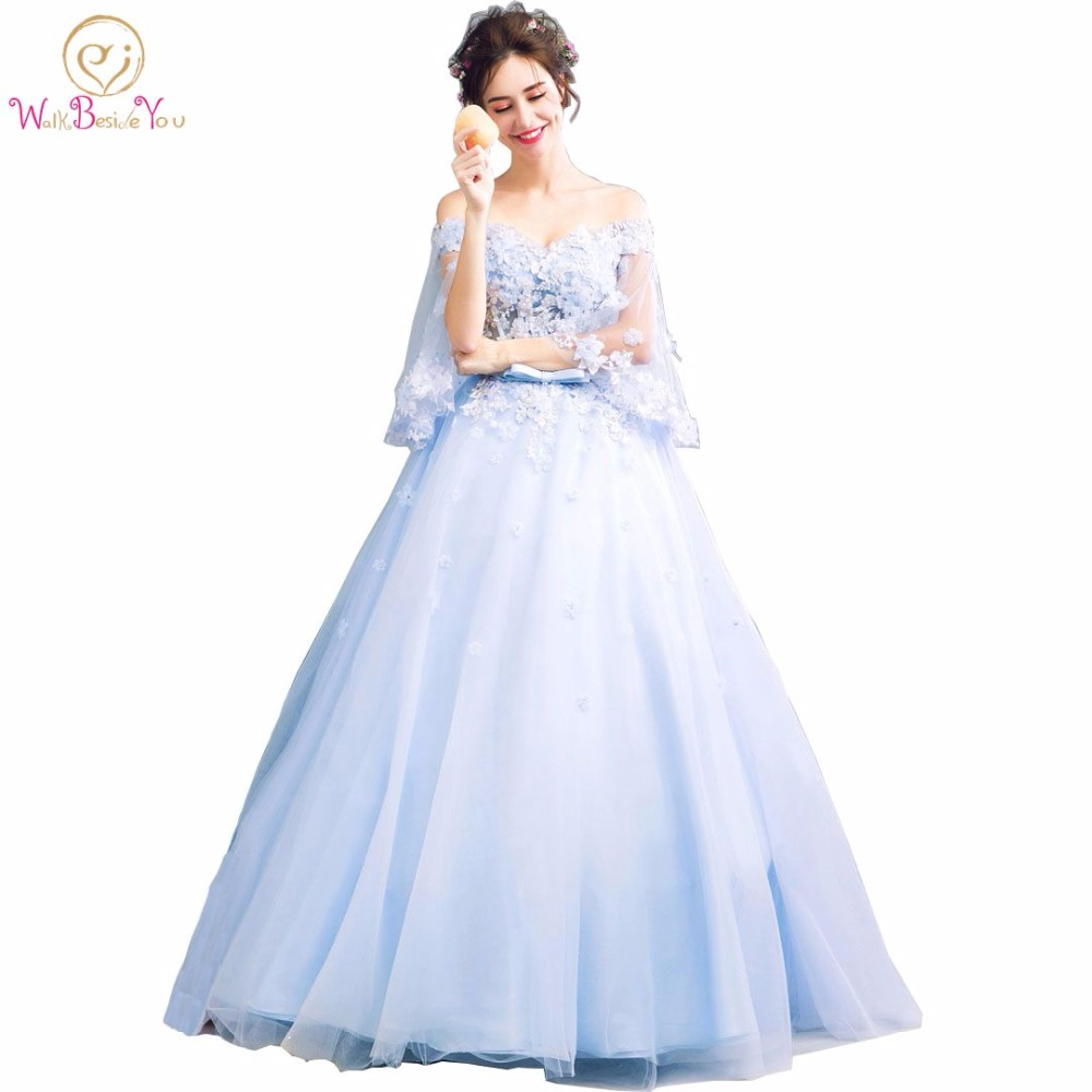 Walk Beside You Blue Sweet 16 Dresses Ball Gowns Quinceanera Dresses 3/4 Sleeves Floral Lace Applique Dress for Masquerade-in Quinceanera Dresses from Weddings & Events    1