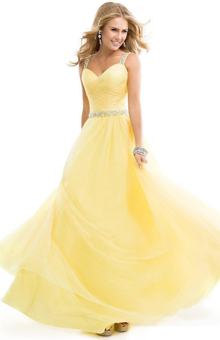 Nouveauté jaune Aqua bleu chérie cristaux perlée élégante longue robe De bal robe De Festa 2018 robes De demoiselle d'honneur