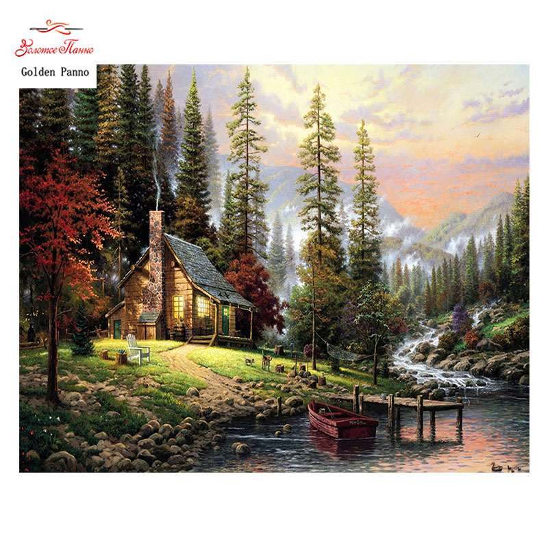 Golden Panno Needlework DIY DMC Cross stitch Sets For Embroidery kit 14ct unprinted River hut cross