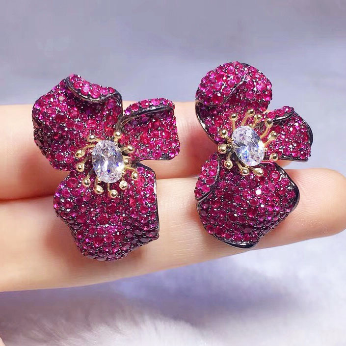 zircon red/blue /green flower earrings and ring s925 FPPJ wholesale beads nature sketches in lavender blue and green