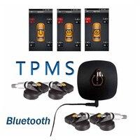 Bluetooth TPMS Беспроводной автомобильных шин Давление и Температура мониторинга Системы для Android с 4 внутренних Датчики