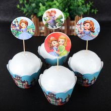 Fruit Dessert Cupcake Wrapper Toppers Picks Sophia Princess 24pcs/lot Happy birthday party supplies cupcake wrappers брюки sophia sophia so042ewgoif9