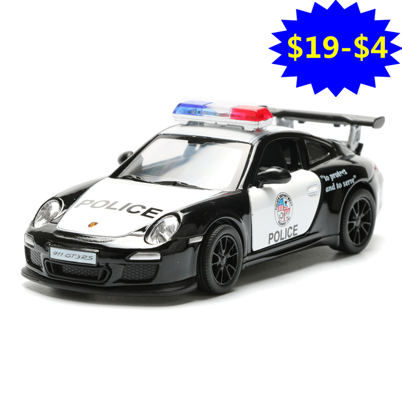 1:36 2018 Pull Back Police Car Toy Simulation Alloy 911 GT3 RS Police Cars Model For Boys Doors Openable Kids Toys Juguetes