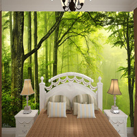 Customized Green Forest silk cloth wallpaper home decoration for wall Landscape office wallpaper dining room hotel shop be