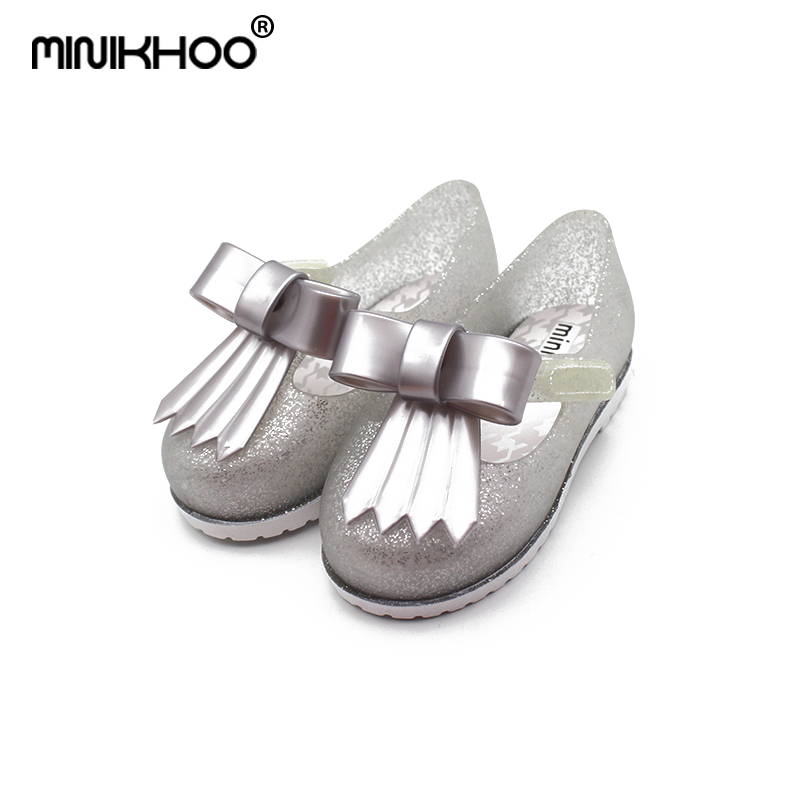 Mini Melissa Mini Casual Girl Jelly Shoes Double Color Bow Princess Shoes Sandals Waterproof Comfortable Jelly Shoes Shoes