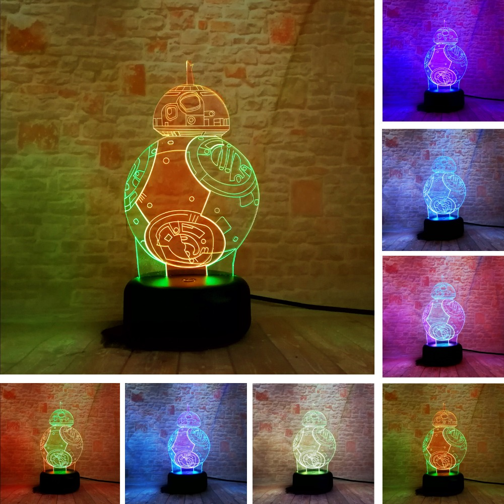100% Kwaliteit Bb-8 3d Gemengde-gekleurde Lamp Star War Fuwa Kracht Ontwaken Night Touch 7 Kleurverandering Best Gift Nachtlampje Led Furnish Home Decor
