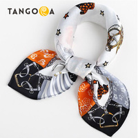 53 53CM Real 100 Silk Luxury Brand Carriage Chain Horse Women S Scarf Printed Square Small