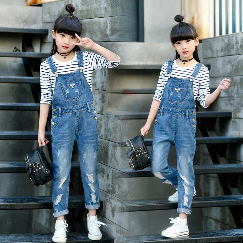 Spring Kids Girsl Hole Ripped Jeans Pants Children Denim Bib Jumpsuit Overall Trousers Teenage Girls Loose Casual Leggings Q82