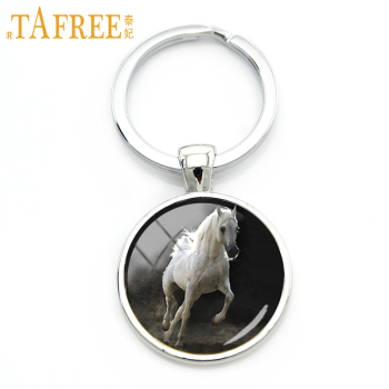 TAFREE 2018 New Pentium Horse keychain coat color a little white shaggy and shiny art round Glass cabochon for women jewelry A23 image