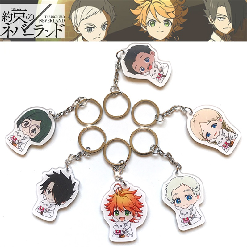 Anime The Promised Neverland Yakusoku No Neverland Key Chains Two-sided Keychain Cosplay Acrylic Pendant Keyring