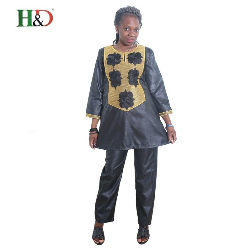 H & D 2017 Ny stil Afrikansk riche bazin damklänning passar Top - Nationella kläder