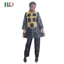 H & D 2017 Nuevo estilo africano riche bazin mujeres traje Tradición proceso de bordado tradicional damas de manga larga