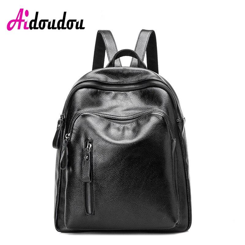 AIDOUDOU BRAND Backpack Women Travel Backpacks Soft Handle Bag To School Fashion Bagpacks Packbag Black Pu