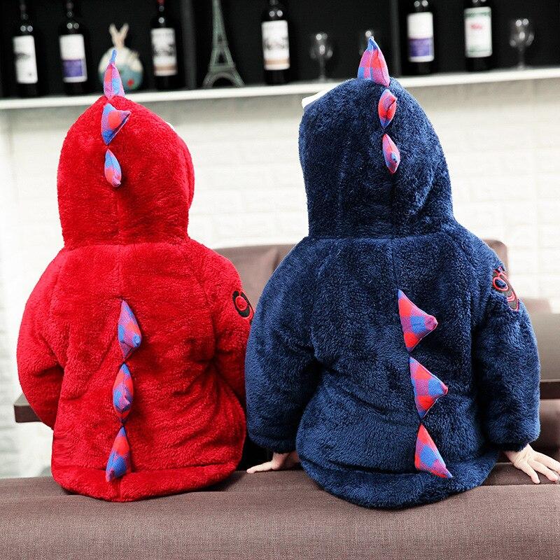 2018 Kinder Herbst Winter Dicken Mantel Baby Cartoon Dinosaurier Oberbekleidung Kinder Fleece Jacke Jungen Und Mädchen Mit Kapuze Kleidung 1- 6 T