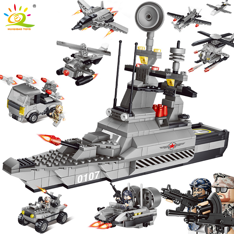 HUIQIBAO TOYS Military DIY Army World War Weapon Tank Helicopter Boat Compatible Legoe City Building Blocks Bricks For Children