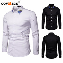 Covrlge Fashion Men Shirt Long Sleeves Button-down Collar Embroidery Dress Shirts Slim MCL194