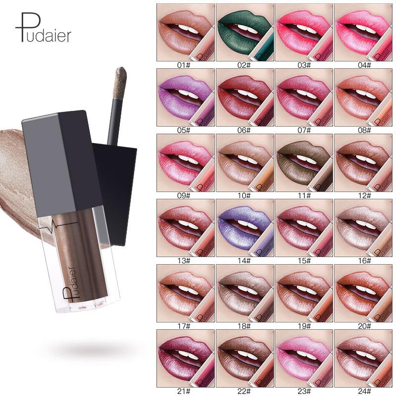 1Pcs Pudaier 24 Colors Metallic Lip Gloss Waterproof Makeup Cosmetics Matte Metal Lock Color Diamond Liquid Lipgloss Eye Shadow