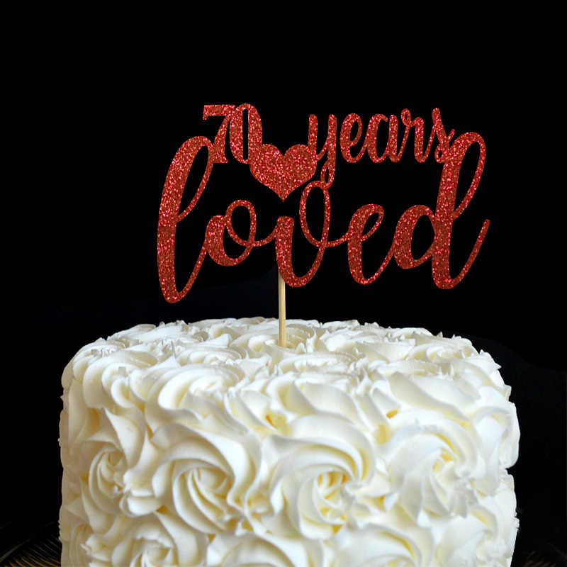 Brokat list 70 lat bardzo podoba ozdoba na wierzch tortu, 70th dekoracja urodzinowa, gorąca impreza sprzyja materiały dekoracyjne akcesoria do ciastek