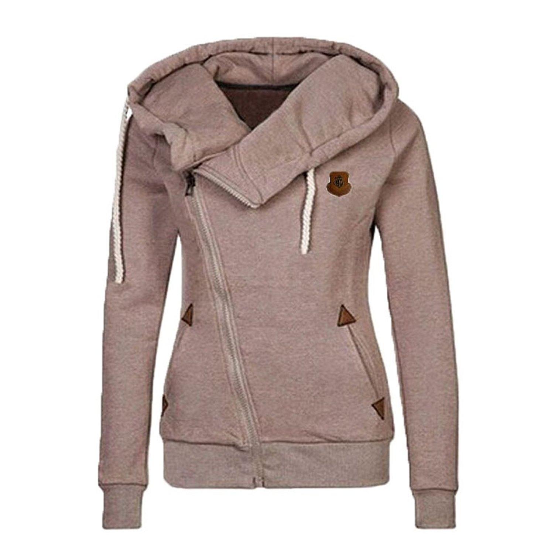3b9b85d5045 Begonia.K Women's Oblique Zipper Hoodies Funnel Neck Full Zip Hooded  Sweatshirt-in Basic Jackets from Women's Clothing & Accessories on  Aliexpress.com ...