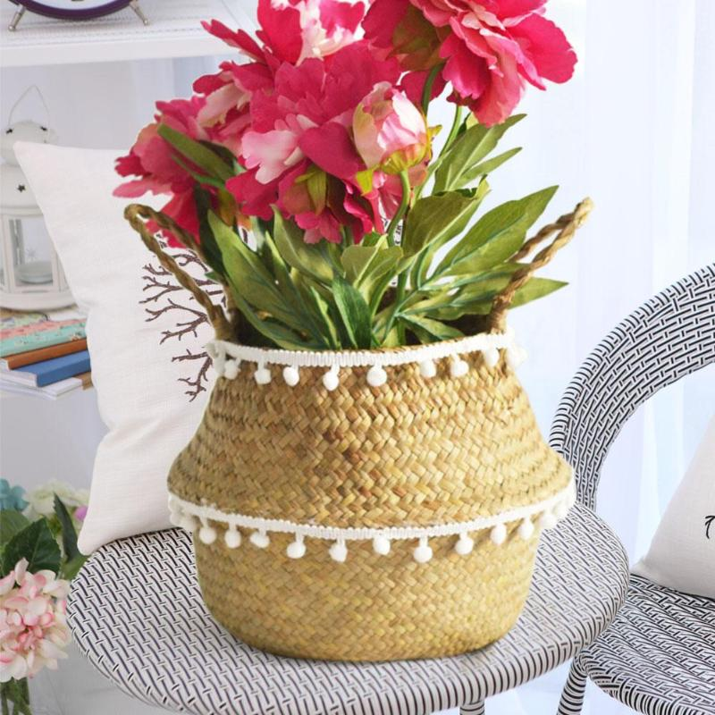 Handmade Storage Baskets Straw Patchwork Flowerpot Wicker Rattan Garden Flower Planter Pot Folding Planter Bamboo Basket 2019