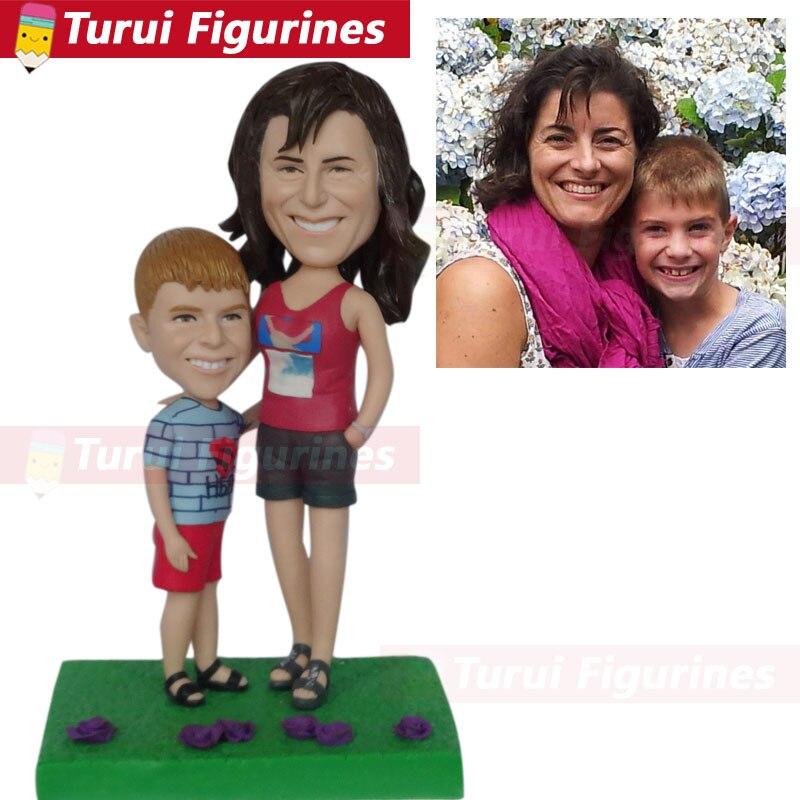Bobbleheads personnalisé tête de Bobble poupées maman et fils figurine personnalisée sculpture décorations pour la maison décor à la maison figura